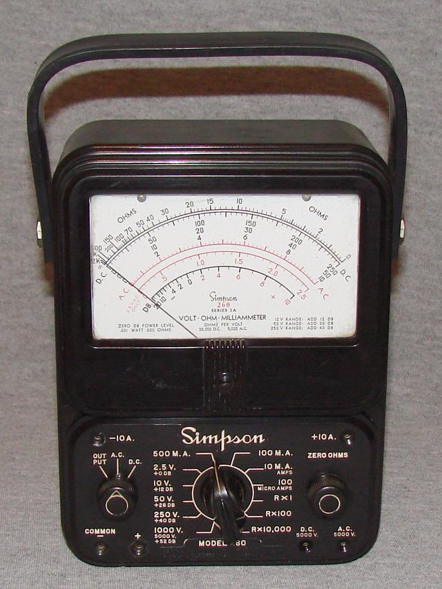 Simpson Analog Meter : Simpson series a volt ohm milliammeter